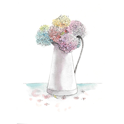 bouquet of hydrangeas in a white jug, on a white background, watercolor illustration