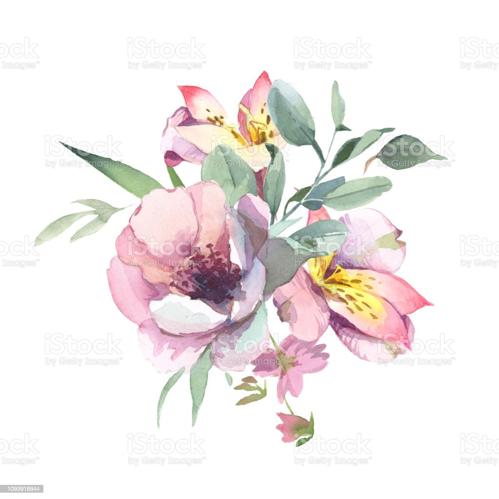 Bouquet Of Peony And Blosom Flowers Isolate In White Background