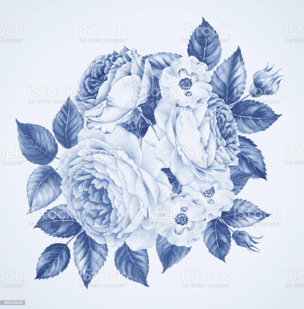 Ilustración De Ramo De Flores De Rosas Ilustración Botánica