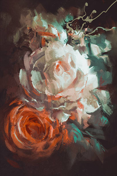 bouquet of roses with oil painting style - oil painting stock illustrations
