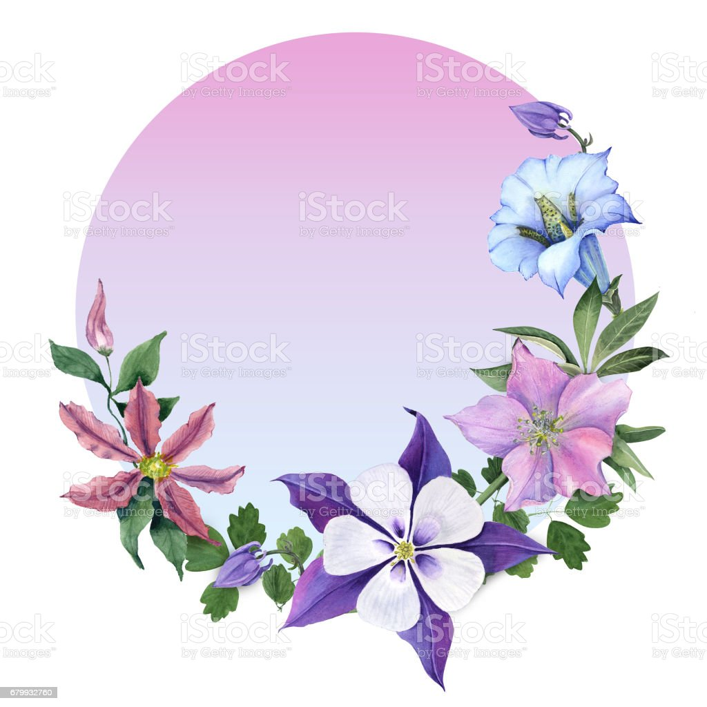 Bouquet Avec Des Fleurs De Gentiane Et Jardin Pour Cartes De Voeux ...