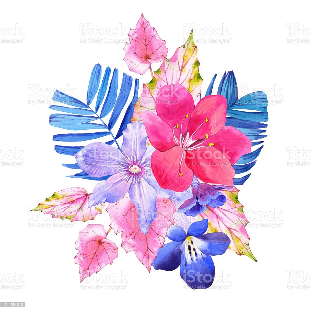 Bouquet With Pink And Blue Realistic Watercolor Flowers Stock Vector