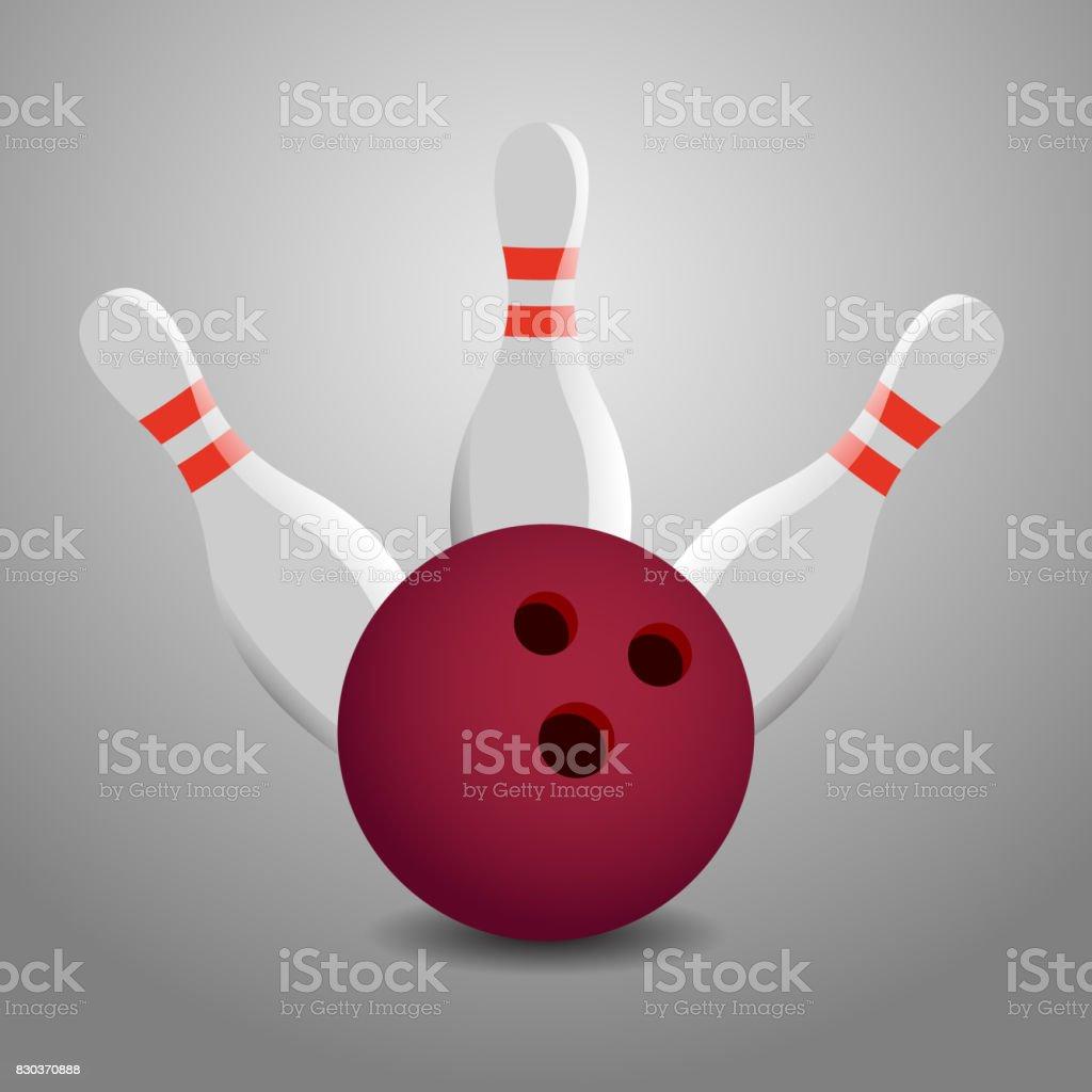 Bowling Ball Hitting Three Pins Illustration - Strike! vector art illustration