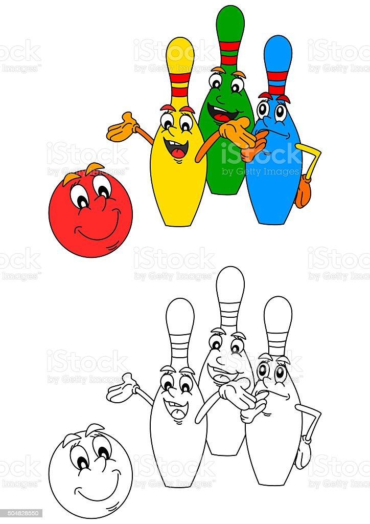 Ilustración de Bolas De Bolo Y Sala De Bolos Como Colorear Libros ...