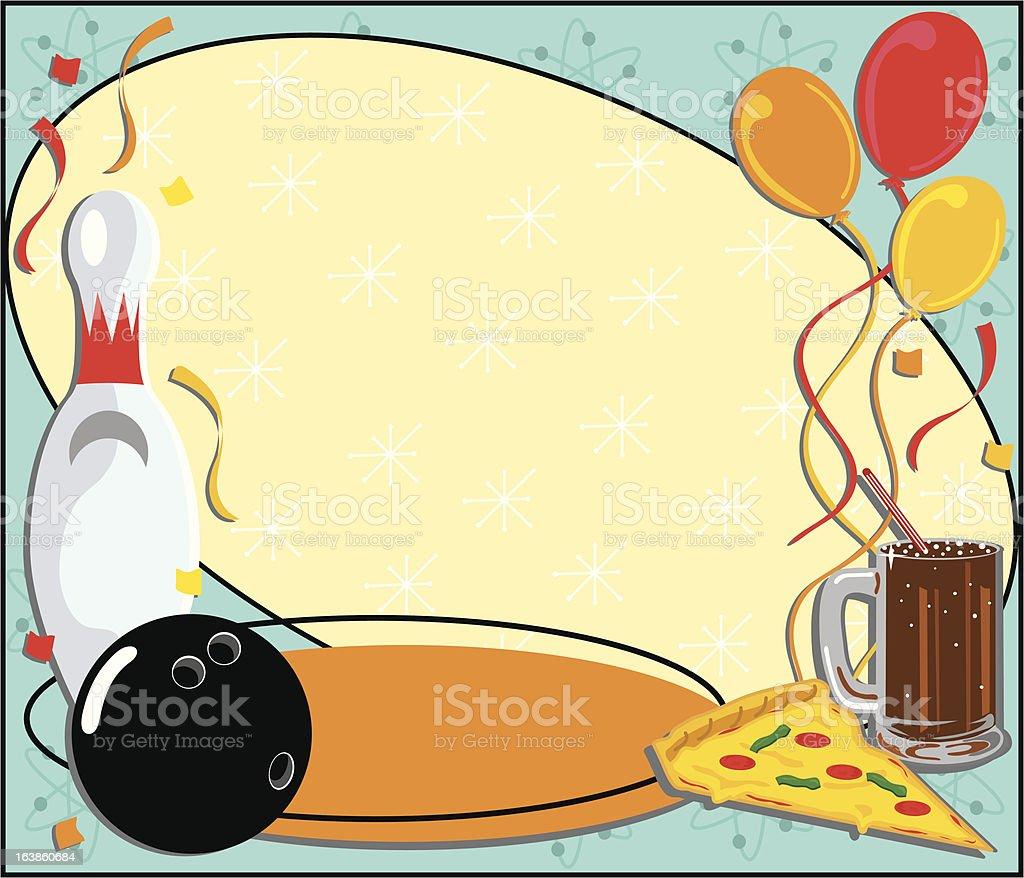 Bowling Birthday Party Invitation vector art illustration
