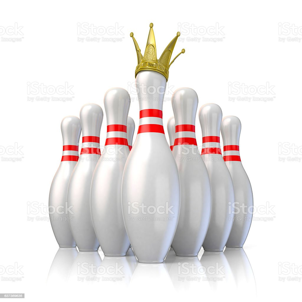 Bowling pins arranged and one with royal crown. 3D vector art illustration