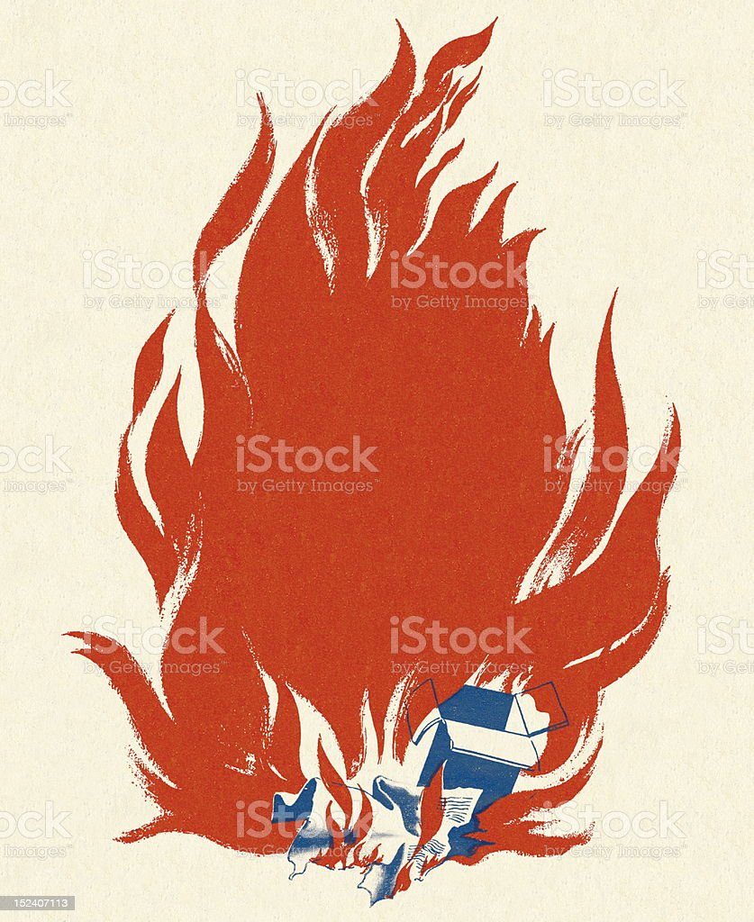 Box and Paper on Fire vector art illustration
