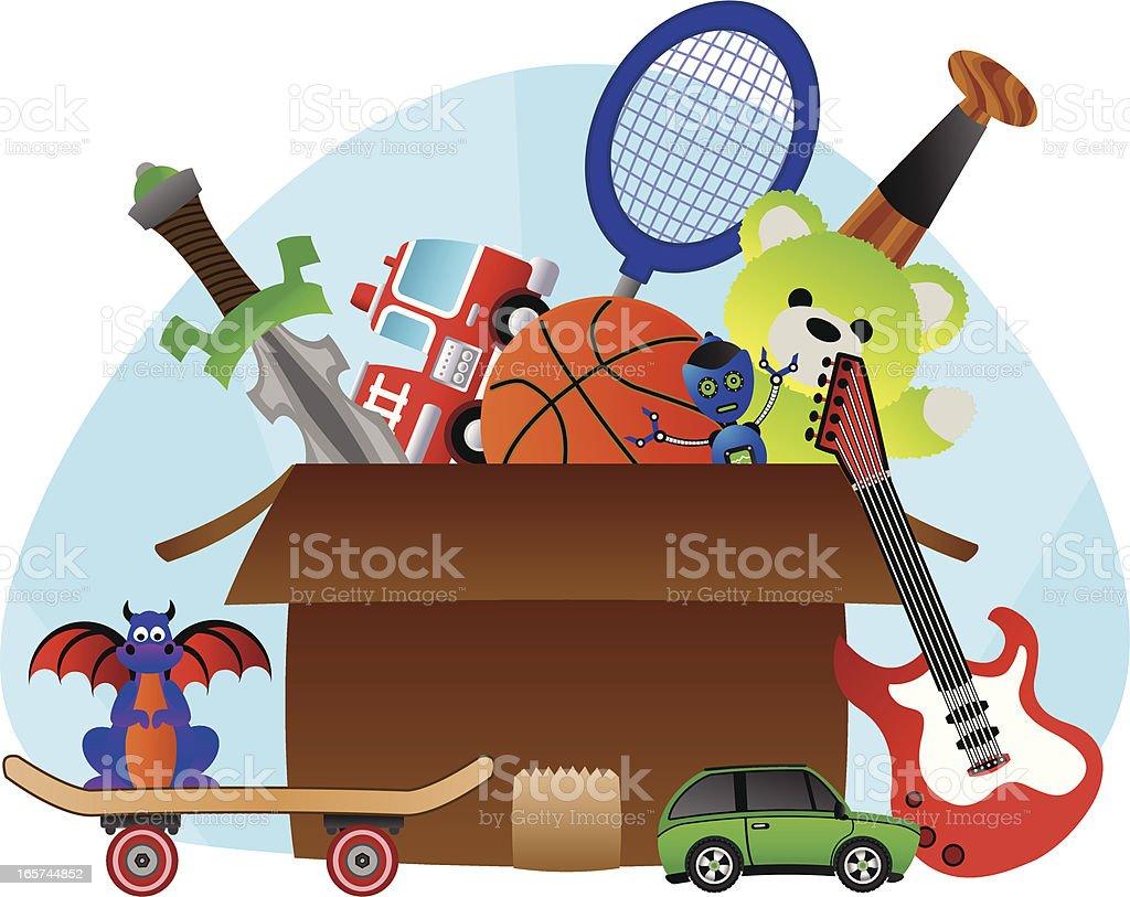 Box of Toys royalty-free box of toys stock illustration - download image now