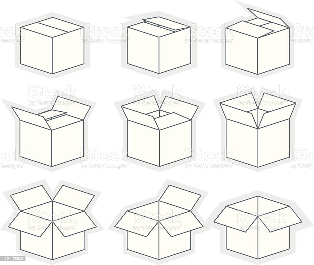 Box sequence vector art illustration