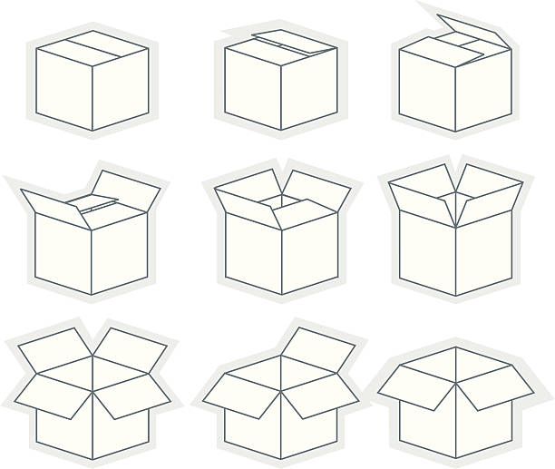 Box sequence Box opening in nine steps. JPG included. cardboard box stock illustrations