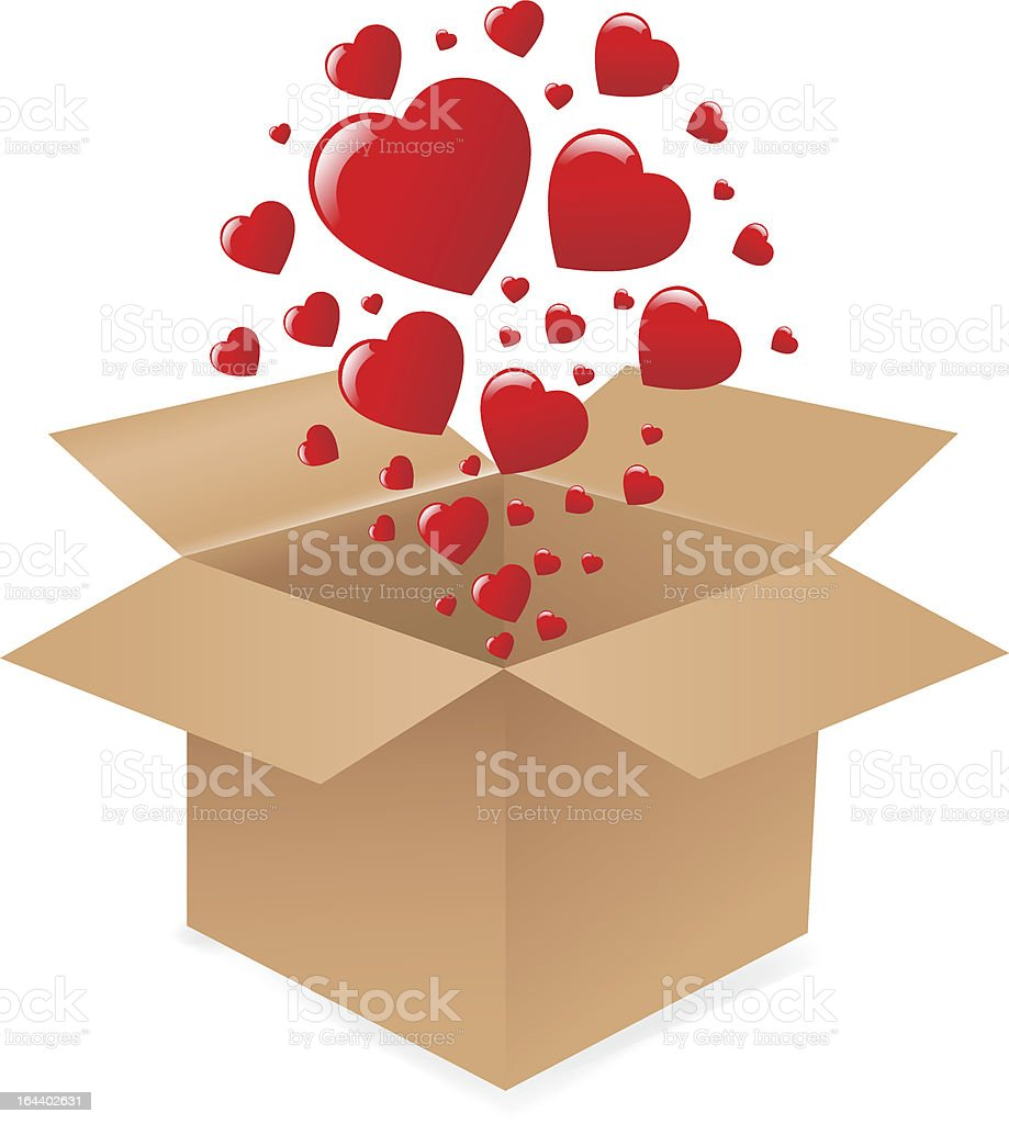 \'Box With Hearts, Isolated On White Background, Vector Illustration\'