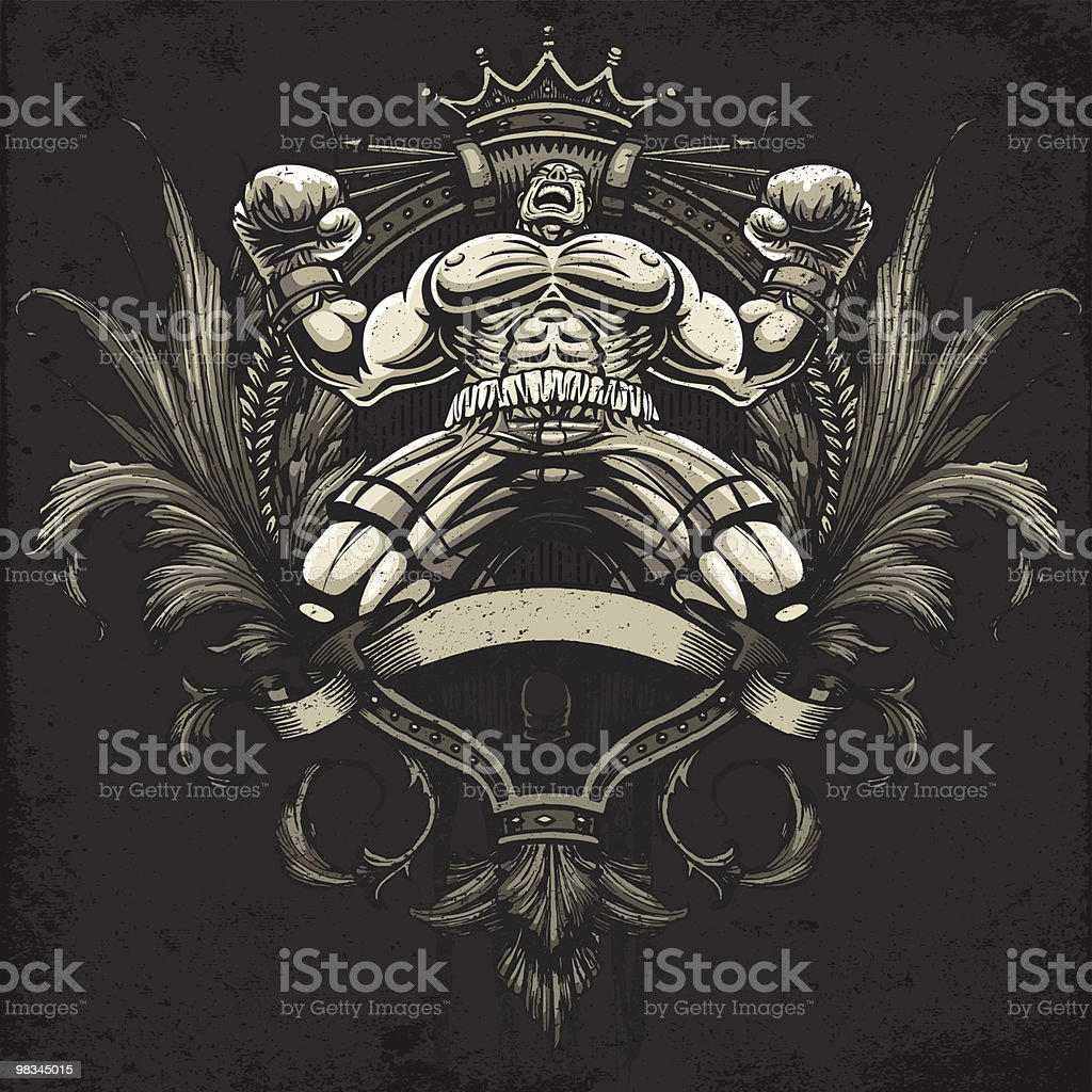 Boxer Celebrates Winning a Championship Fight: Heraldry Crest Version royalty-free boxer celebrates winning a championship fight heraldry crest version stock vector art & more images of blank