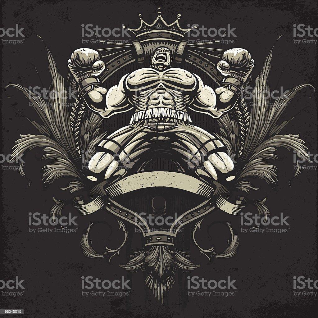 Boxer celebra Vincere un campionato lotta: Versione araldica Crest boxer celebra vincere un campionato lotta versione araldica crest - immagini vettoriali stock e altre immagini di allegro royalty-free