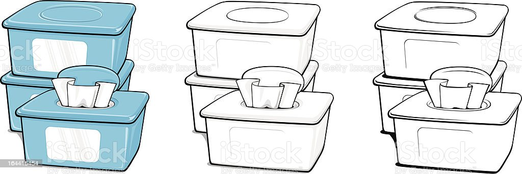Boxes of Wipes royalty-free stock vector art