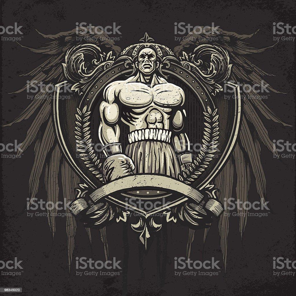 Campione di boxe in piedi con orgoglio: Versione araldica Crest campione di boxe in piedi con orgoglio versione araldica crest - immagini vettoriali stock e altre immagini di competizione royalty-free