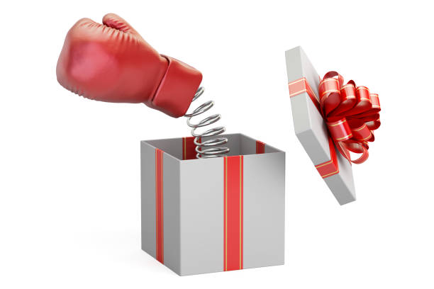 Boxing glove coming out from a gift box, 3D rendering vector art illustration