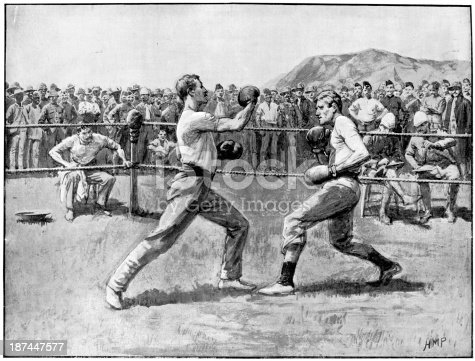 Vintage engraving showing a boxing match bewteen soldiers during the Boar War, 1900, Sterkstroom, South Africa