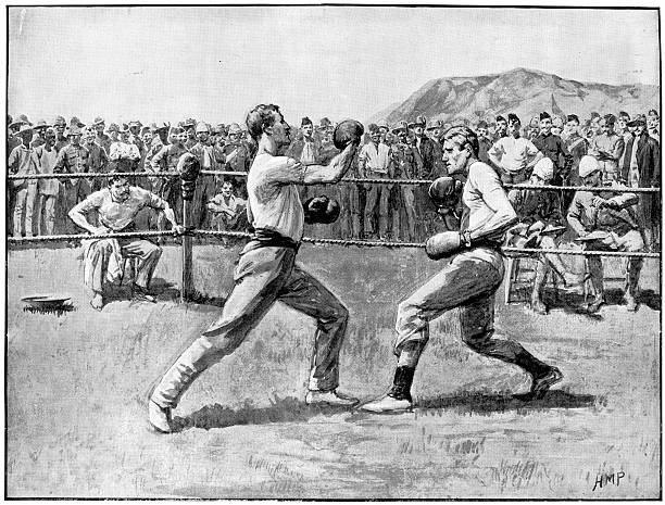 ilustraciones, imágenes clip art, dibujos animados e iconos de stock de combate de boxeo - boxeo deporte