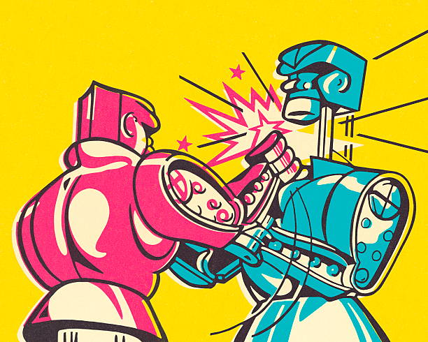 boxing robots - robotics stock illustrations, clip art, cartoons, & icons