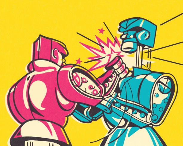 ilustraciones, imágenes clip art, dibujos animados e iconos de stock de robots de boxeo - boxeo deporte