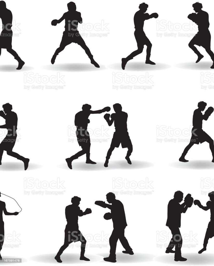 boxing silhouette stock vector art amp more images of adult