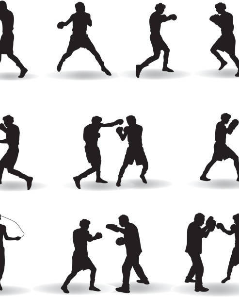 Boxing Silhouette vector art illustration