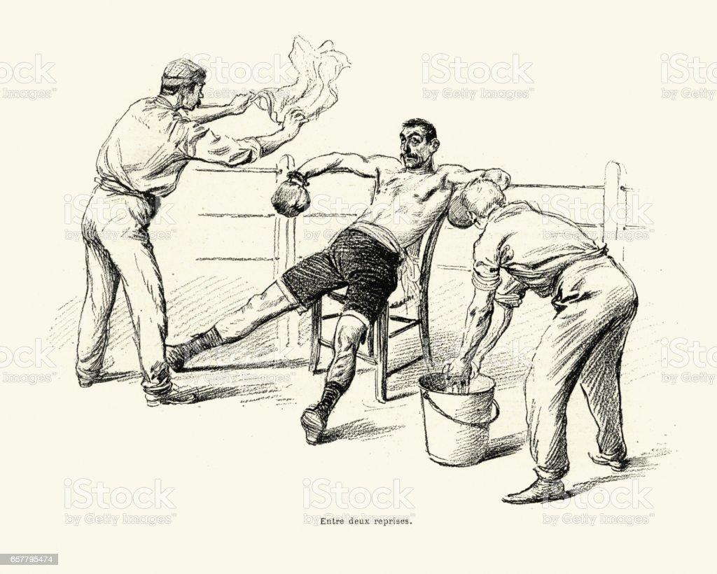 Boxeo vs Savate, partido entre Driscoll y Charlemont 1899 - ilustración de arte vectorial