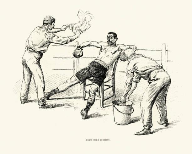 ilustraciones, imágenes clip art, dibujos animados e iconos de stock de boxeo vs savate, partido entre driscoll y charlemont 1899 - boxeo deporte