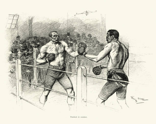 Boxing vs Savate, Match between Driscoll and Charlemont 1899 vector art illustration