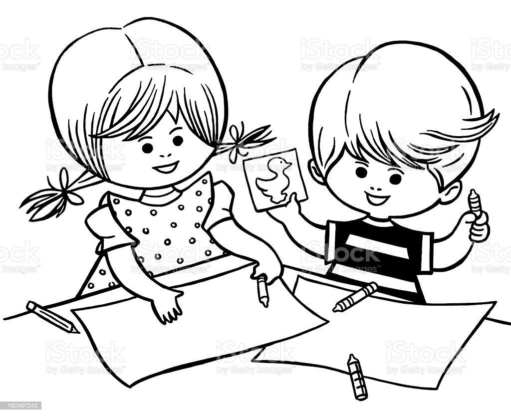 Imagenes Para Colorear Para Niña: Niño Y Niña Para Colorear Illustracion Libre De Derechos
