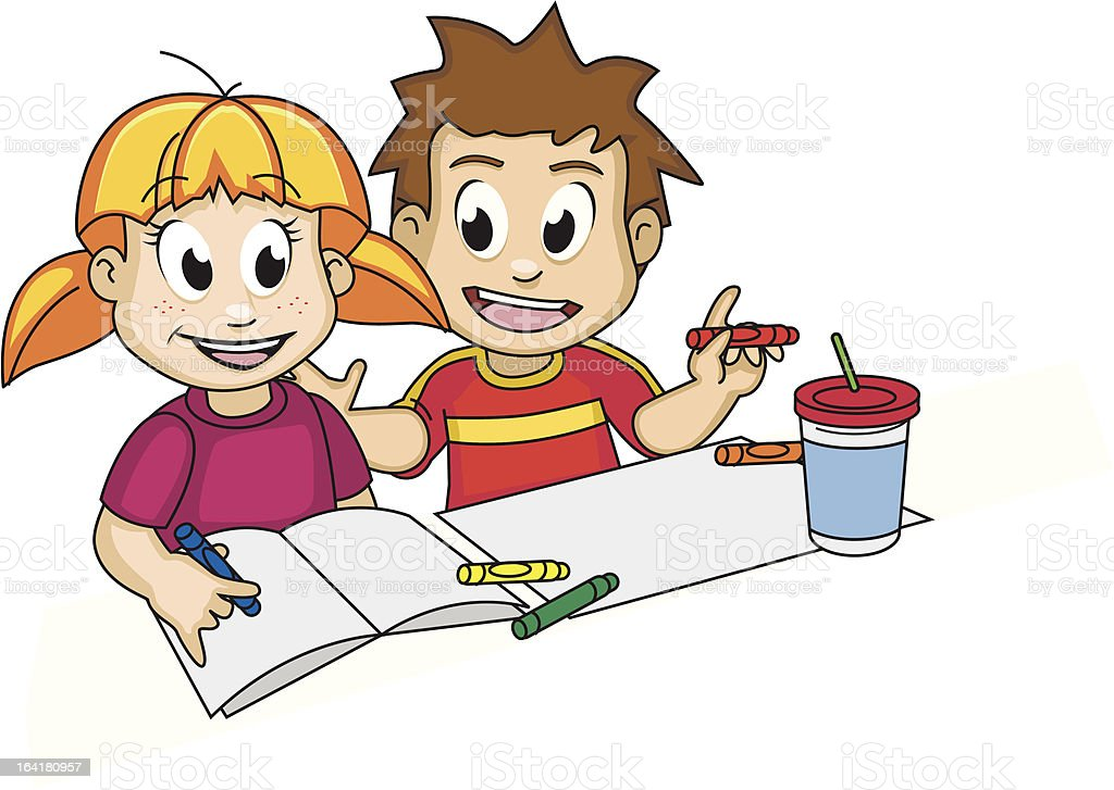 Boy and Girl doing homework royalty-free boy and girl doing homework stock vector art & more images of activity