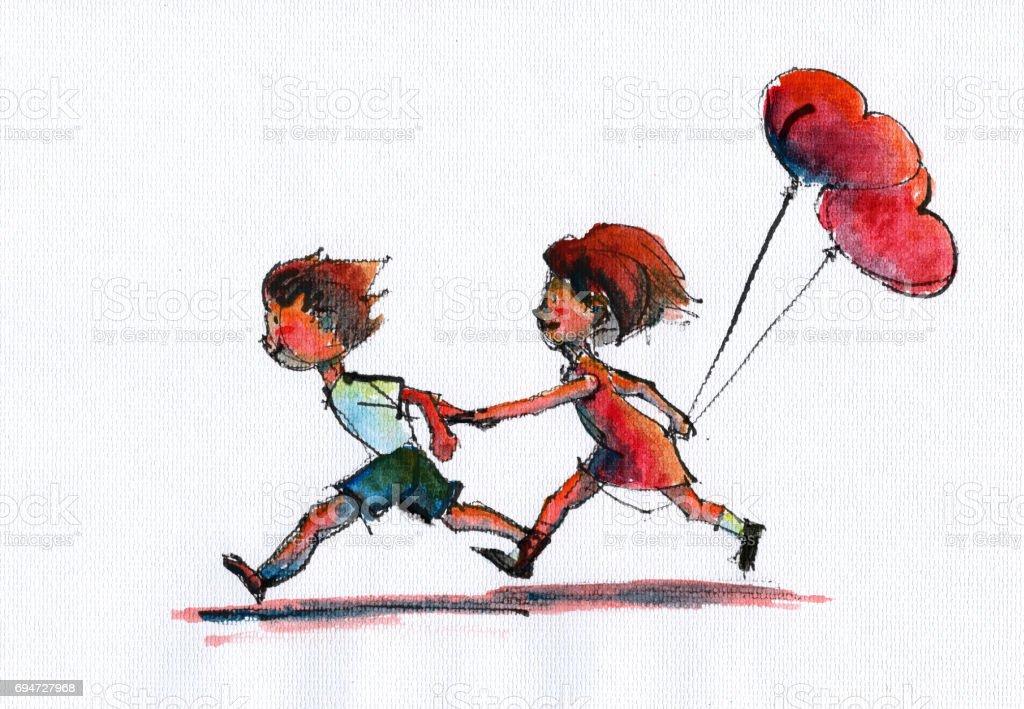 Erkek Ve Kız Bir Kalp Tutarak Balon şeklinde Stok Vektör Sanatı 13