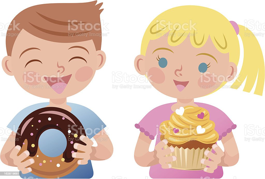 boy and girl vector art illustration
