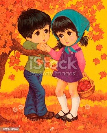 istock Boy and Girl in Autumn Scene 152404942