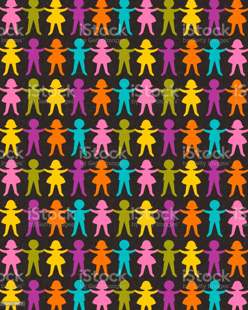 Boy and Girl Paper Doll Chains vector art illustration