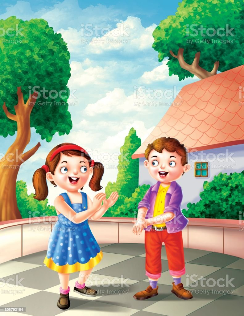 boy and girl playing vector art illustration