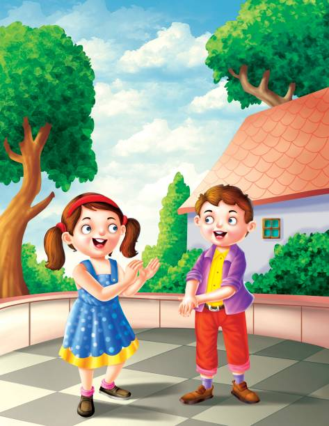 boy and girl playing - brother stock illustrations, clip art, cartoons, & icons