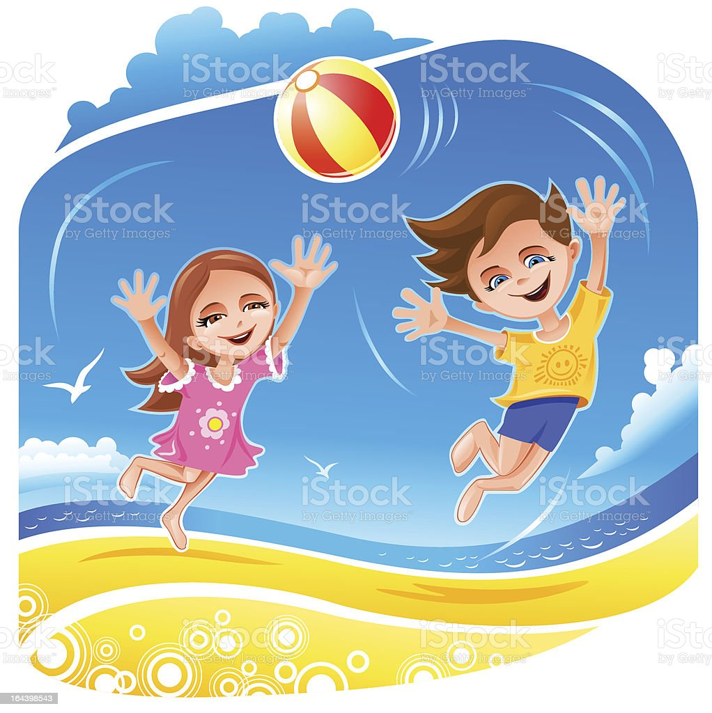 Boy and girl playing with ball on the beach vector art illustration