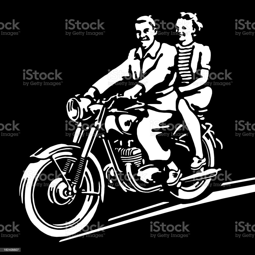 Boy and Girl Riding Motorcycle royalty-free stock vector art