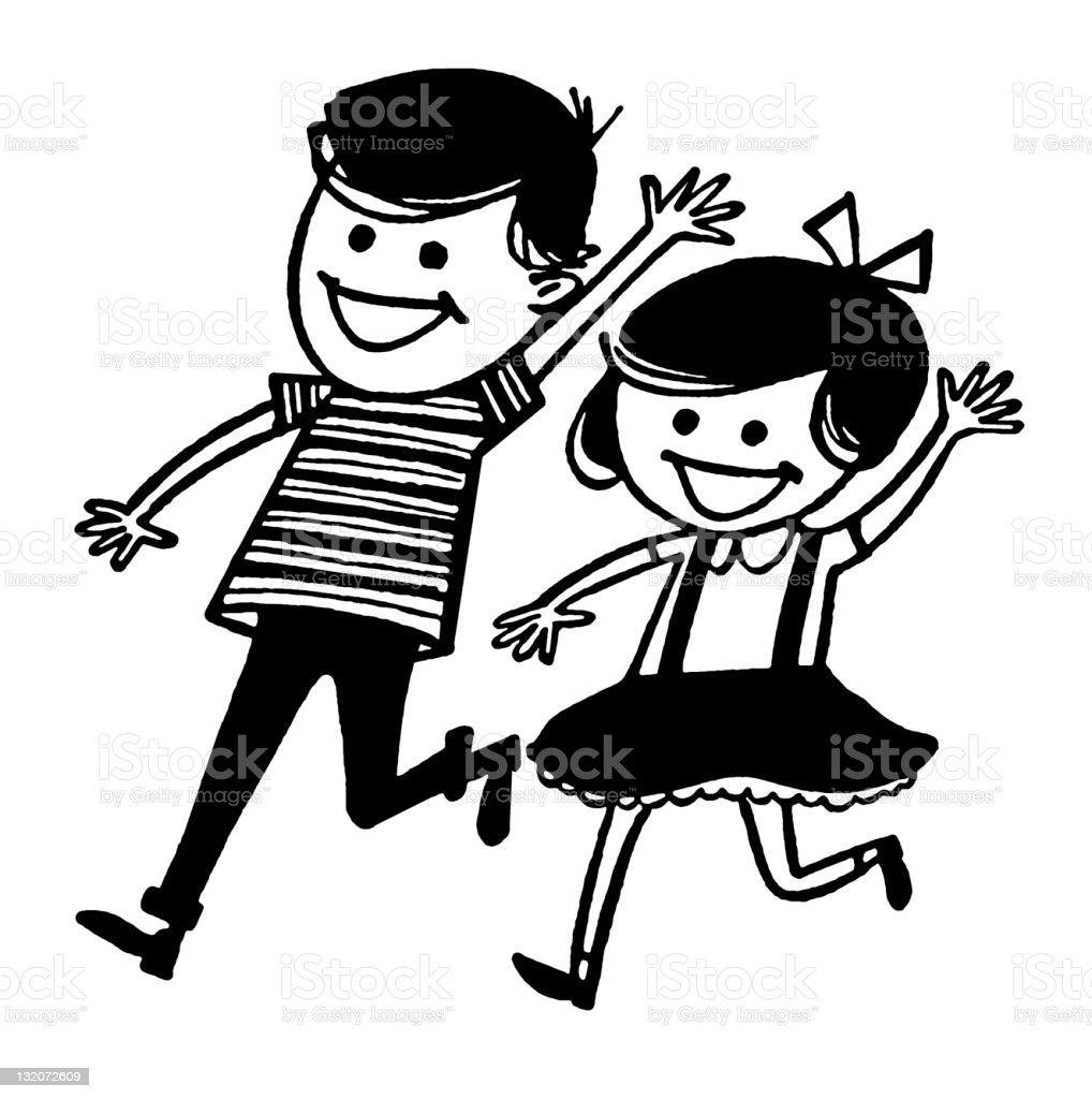 Boy and Girl Running and Waving vector art illustration