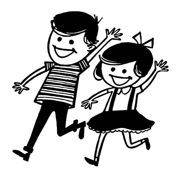 ilustrações, clipart, desenhos animados e ícones de menino e menina correndo e acenando - irmã