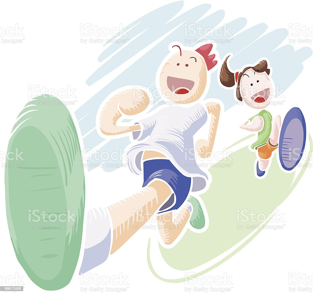 Boy and girl running - Royalty-free Alleen kinderen vectorkunst