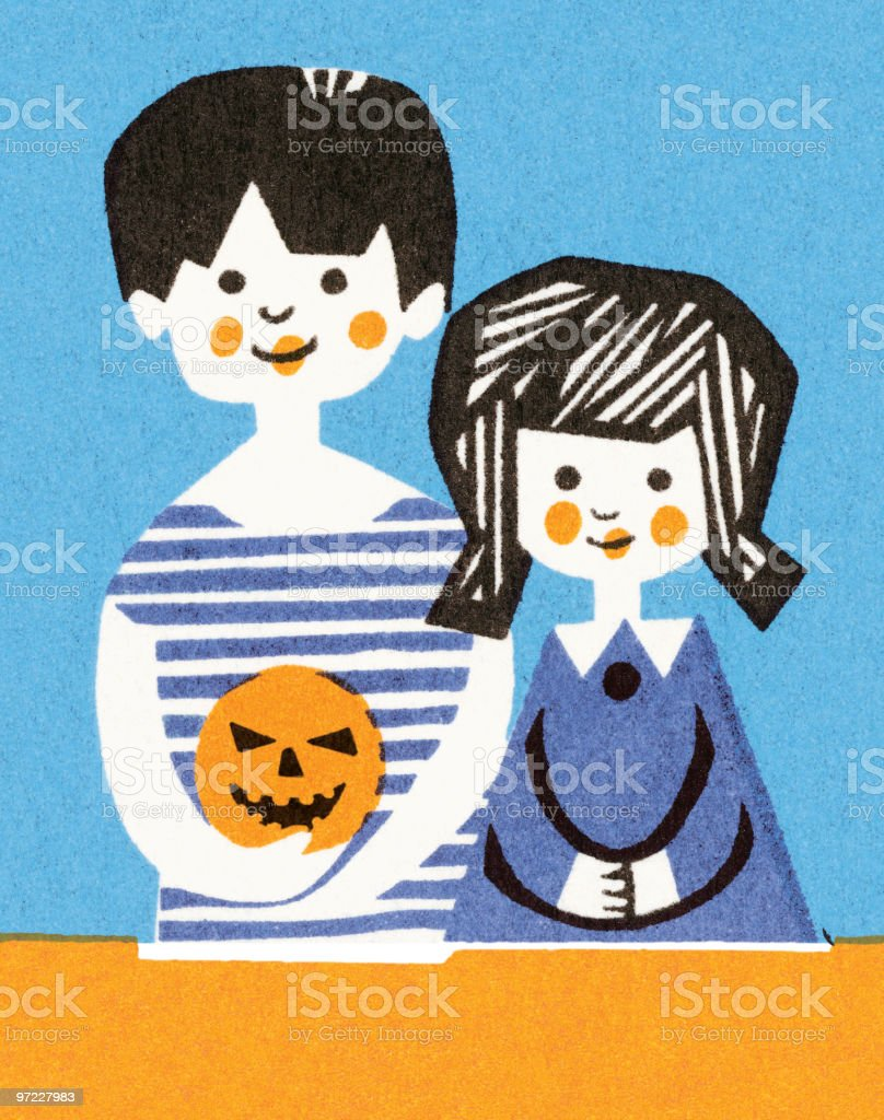 Boy and Girl with Carved Pumpkin royalty-free stock vector art