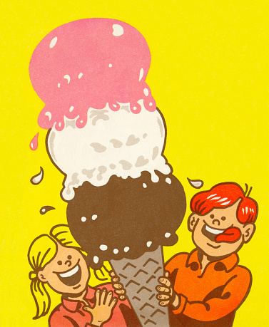 Boy and Girl With Giant Ice Cream Cone