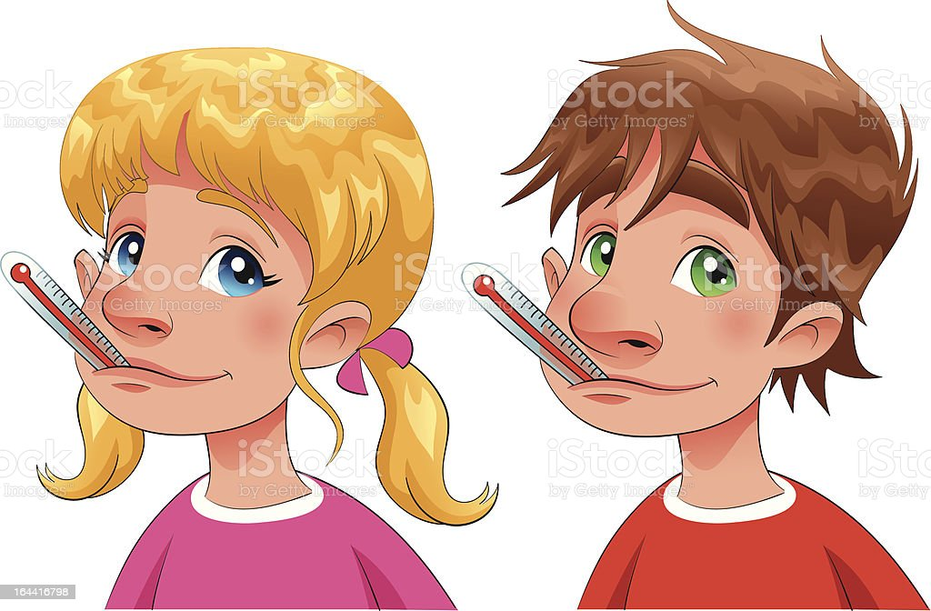 Boy and girl with thermometer. royalty-free stock vector art