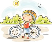 """""""A little happy boy with his bicycle, no gradients."""""""