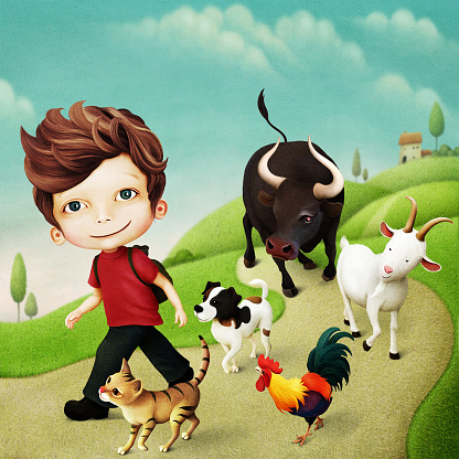 Boy and his friends are animals.