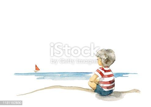 Boy and sea The boy who looks at a far horizon