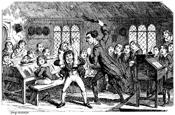 """Boy being birched by his school teacher Schoolboy being held by another boy so he can be birched by the teacher, while the rest of the class watches with enjoyment. From """"The Comic Almanack for 1839: An Ephemeris in Jest and Earnest, containing 'All Things Fitting For Such a Work' by Rigdum Funnidos, Gent."""" Illustrations by George Cruikshank. Published by Charles Tilt, London, in 1838. punishment stock illustrations"""