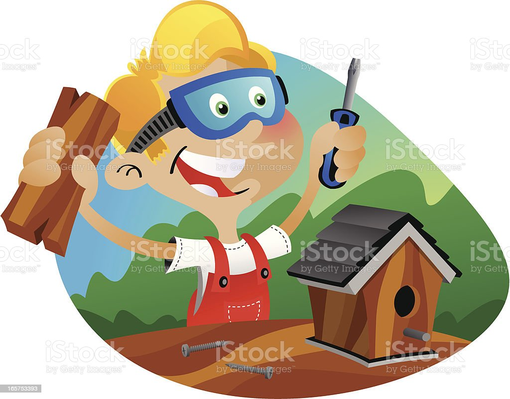 Boy Builds Birdhouse vector art illustration